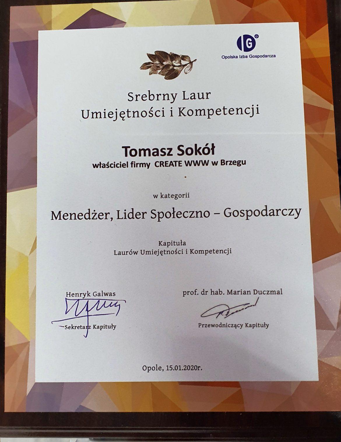Tomasz Sokół Laur 2019
